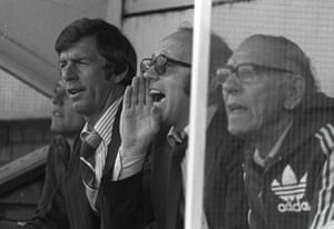 Manager Nobby Stiles issues instructions from the dugout to his Preston North End players during a match against Fulham in September 1979