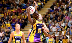 Peace Proscovia of the Lightning and Shannon Eagland of the Fever challenge for the ball during the round 9 Super Netball match between the Lightning and the Fever at University of Sunshine Coat.