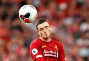 Liverpool's Andrew Robertson making a thumping header against Newcastle. The visitors opened the scoring with a blistering strike from Jetro Willems, but Saido Mané scored twice in reply and the introduction of Roberto Firmino as a sub saw Liverpool run away with the game.