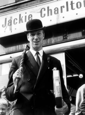 Many footballers in the 1960's looked to fashion as a way to provide further income, Charlton was one such player, pictured here outside his menswear shop in May 1967.