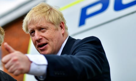 Boris Johnson visits the Thames Valley police training centre in Reading on the campaign trail.