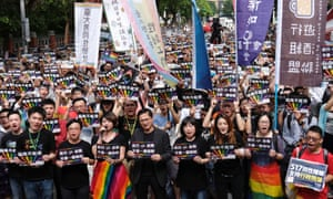 Same-sex marriage supporters take part in a rally in Tuesday in Taipei, Taiwan.