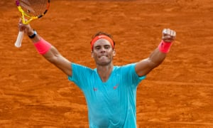 Rafael Nadal celebrates victory in his semi-final match over Diego Schwartzman in Paris on Friday.