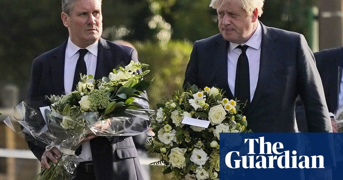 Johnson and Starmer leave flowers at scene of David Amess killing