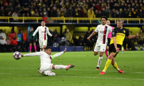 Red-hot Erling Haaland hits double to give Dortmund victory over PSG