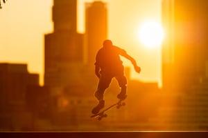 New York, US: A skateboarder at Rockefeller Park in lower Manhattan
