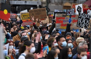 Events across Australia, including here in Melbourne, were organised in solidarity with protests in the United States following the killing of an unarmed black man George Floyd at the hands of a police officer in Minneapolis, Minnesota and to rally against Aboriginal deaths in custody in Australia.