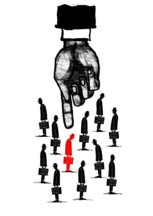 Illustration by David Foldvari of a giant hand singling out one man among many