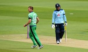 Craig Young of Ireland celebrates taking the wicket of Jason Roy of England.