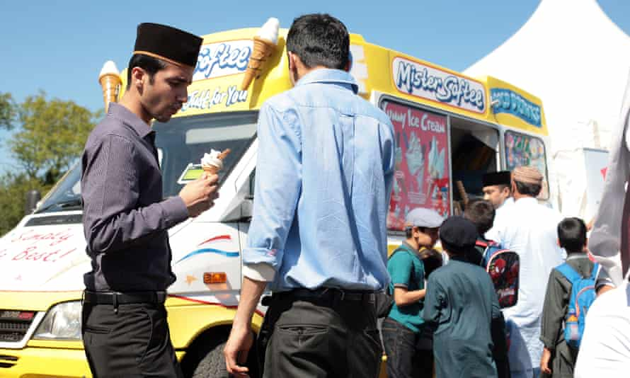 Attendees outside an ice-cream van at the UK's largest Muslim convention, Jalsa Salana