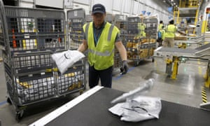 Steven Smith works at an Amazon warehouse facility in Goodyear, Arizona on 17 December 2019.