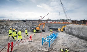 Construction workers at the site for the Hinkley C nuclear power plant near Bridgwater, Somerset.
