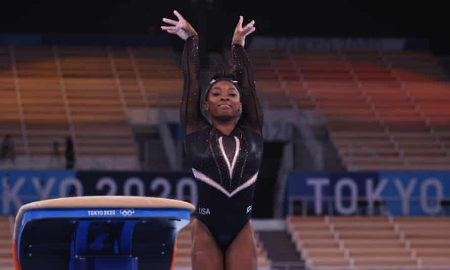 Simone Biles of the United States on the vault during training
