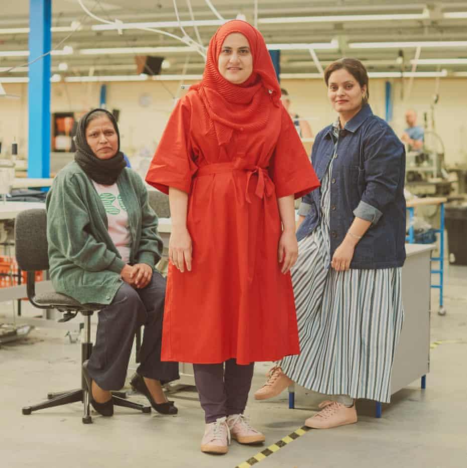Rakhshanda Shahid, 48, machinist wears cardigan, £79, T-shirt, £27, jeans, £65; Shafqat Rani, 39, machinist, wears dress, £69; Pooja Rani, 32, Machinist wears jacket, £89, and dress, £69.