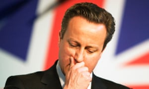David Cameron in front of a union jack