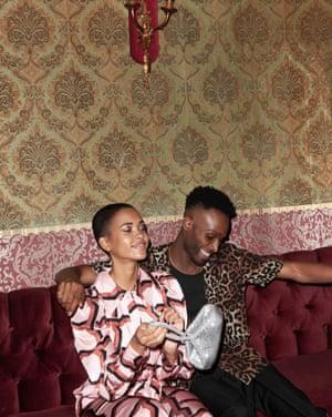 model wears jumpsuit, £149, finerylondon.com. Bag, £31.20, warehouse.co.uk. model wears trousers, £145, reiss.com. Shirt, £25, topman.com. Vest, £8.99, hm.com.