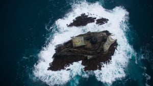 People & Skills category 2nd Fastnet from above by James Bassitt, University of Exeter: It's early December on the Fastnet rock off the coast of Ireland. The EPSRC-funded STORMLAMP field deployment team are obtaining visual data of the craggy rock and lighthouse. They will use this information to build up a picture of the behaviour of the lighthouse under severe wave impacts, backed up with wave and structural modelling on dry land. The photographer, James Bassitt, is just visible on the concrete helipad, flying the drone from which this shot was taken.