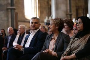 Sadiq Khan with wife Saadiya in Southwark Cathedral