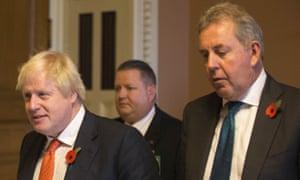 US ambassador Kim Darroch, right, accompanies Boris Johnson during his visit to Washingdon DC in 2017.