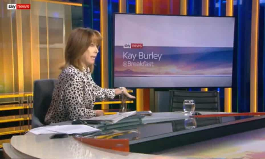 Sky News presenter Kay Burley gesticulates to an empty chair in lieu of Tory chairman James Cleverly.