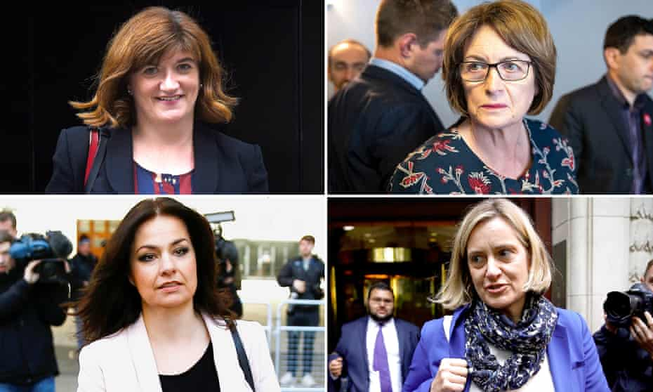 Female MPs quitting include (clockwise from top left) Nicky Morgan, Louise Ellman, Amber Rudd and Heidi Allen.