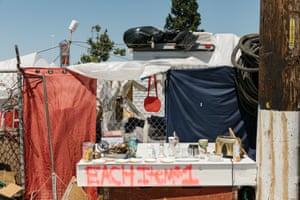 A makeshift dollar store at the Community of Grace encampment near a Home Depot in Oakland.