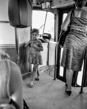 Girl on a tram, Sarajevo, June 1998.