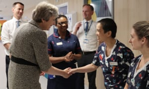 Prime minister Theresa May and health secretary Jeremy Hunt (far left) meeting nurses during a visit to the Royal Free Hospital in London earlier this month