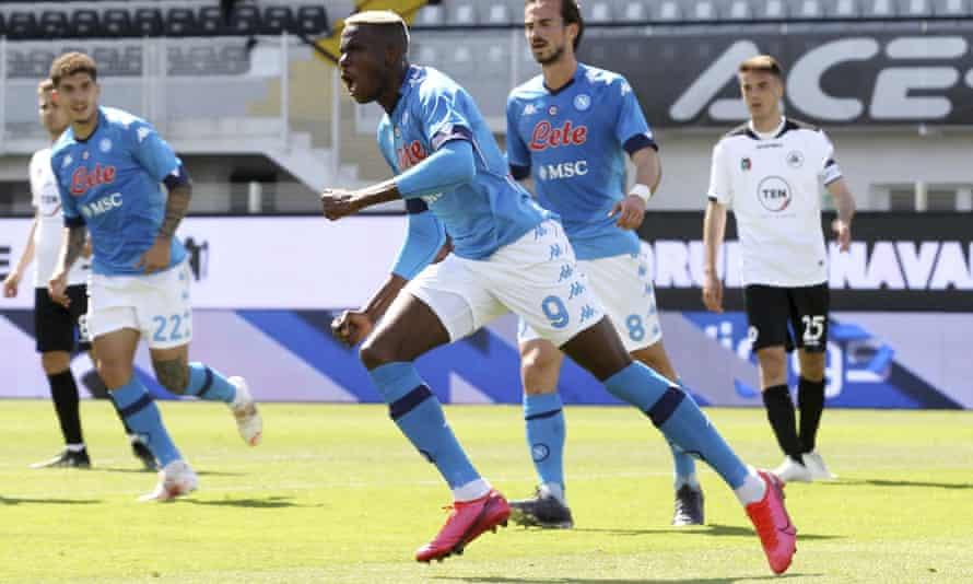 Napoli's Victor Osimhen celebrates after scoring in the eventual 4-1 win over Spezia.