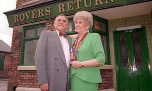 Jack Duckworth (Bill Tarmey) and Vera Duckworth )Liz Dawn) outside the Rovers Return: 'They bickered incessantly but it worked for them like the blades of a pair of scissors.'
