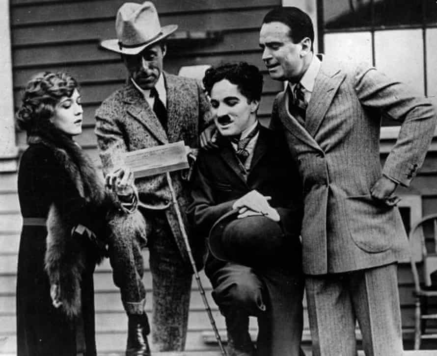 Moguls … Pickford, DW Griffith, Charlie Chaplin and Douglas Fairbanks on the day they formed United Artists.