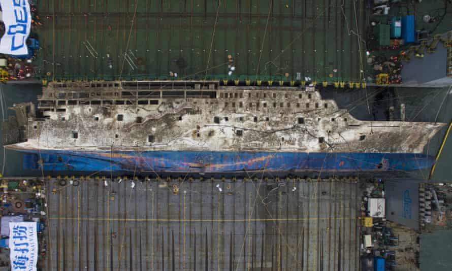 Aerial view of the Sewol ferry