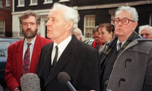 Front left to right, the Labour MPs Jeremy Corbyn, Tony Benn and Tam Dalyell, in 1998