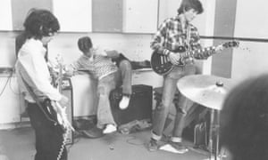 The Spark Plugs (with David Baddiel, left, on Strat copy guitar) in the school music room, c1977.