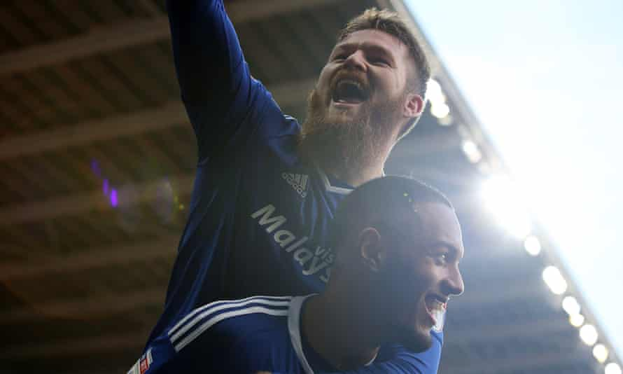 Cardiff City's Kenneth Zohore celebrates scoring his side's fifth goal against Rotherham United with Aron Gunnarsson.