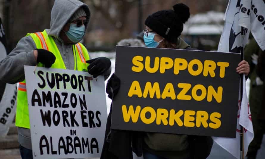 People in Union Square, New York, demonstrate in support of Amazon workers.