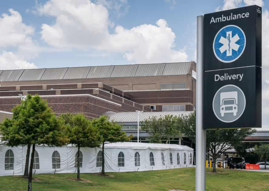 Lyndon B Johnson hospital in Houston set up medical tents on 10 August in preparation for the overflow of patients being treated for the Delta variant.