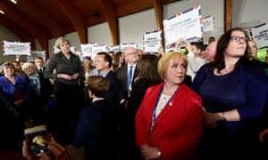Theresa May speaks at the Brackla community centre in Bridgend.