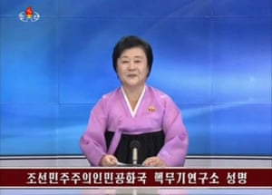 KRT state TV newsreader confirms the nuclear test.