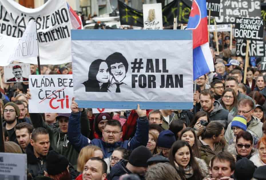 Domonstrations celebrating the resignation of Slovakia's prime minister Robert Fico.