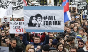 Protesters celebrate the resignation of prime minister Robert Fico amid a crisis triggered by the murders of Ján Kuciak and his fiancee Martina Kušnírová.