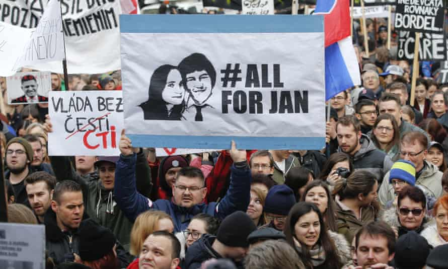 A protest rally in Bratislava on 16 March