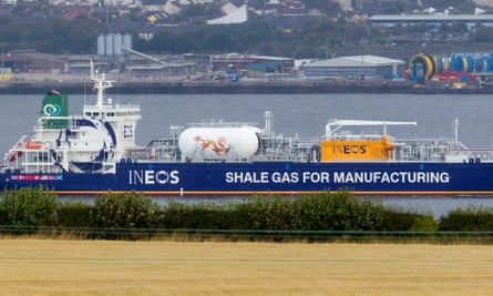 An Ineos tanker sailing on the Firth of Forth before docking at Grangemouth, ahead of the first ever shipment of shale gas from America in 2016.