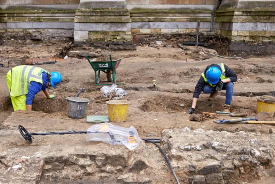 Archaeologists from PCA working on the Great Sacristy site.