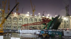 The crane which collapsed onto the Grand Mosque is seen on its side.