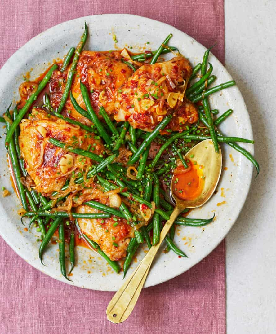 Nik Sharma's chicken with sambal and green beans.