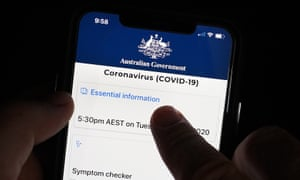 a phone displaying the government's covid-19 app