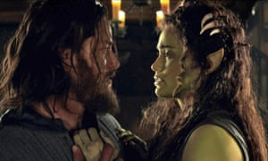 Travis Fimmel and Paula Patton in a scene from the film Warcraft