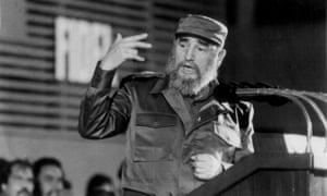 Fidel Castro delivering a speech at a hospital in Havana, December 1988
