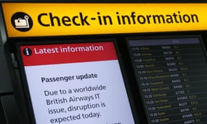 A display warning passengers about BA's IT outage.